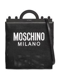 Moschino Black Tote Aus Netz Mit Logodruck