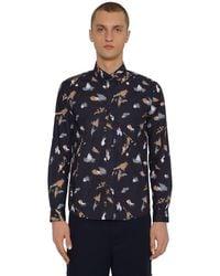 KENZO Hemd Aus Baumwollpopeline in Blue für Herren