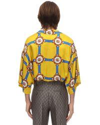 Gucci Bowlinghemd Aus Viskose Mit Druck in Yellow für Herren