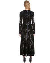 Nina Ricci Black Deep Neckline Stretch Sequined Dress