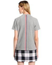 Thom Browne Gray Back Stripe Cotton Piqué T-shirt
