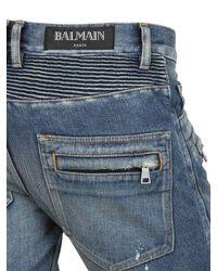 Balmain Blue Painted Denim Biker Jeans for men
