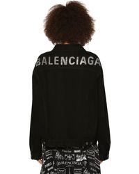 Balenciaga ストラスコットンデニムジャケット Black