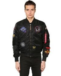 Alpha Industries | Black Ma-1 Vf Slim Bomber Jacket W/ Patches for Men | Lyst