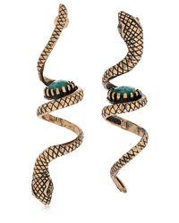 Alcozer & J - Metallic Snake Emerald Pendant Earrings - Lyst