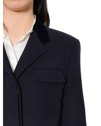 Thom Browne Blue Wool Chesterfield Coat W/ Velvet Collar