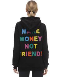 Felpa In Cotone Con Cappuccio di MAKE MONEY NOT FRIENDS in Black
