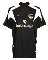 Camiseta De Fútbol Oversize De Malla Con Logo Balenciaga de color Black