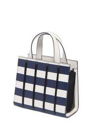 Max Mara White Mini Striped Leather Top Handle Bag