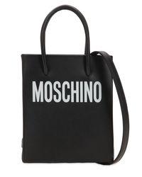 Moschino Black Schultertasche Aus Leder Mit Logodruck