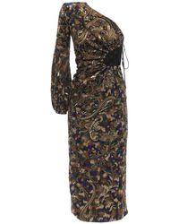 Saint Laurent 刺繍入りワンショルダードレス Multicolor