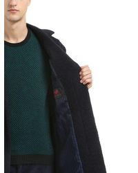 Mp Massimo Piombo Blue Alpaca Wool Blend Coat for men