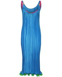 Платье Из Атласа С Оборками Versace, цвет: Blue
