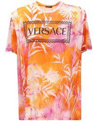 Versace タイダイコットンジャージーtシャツ Orange