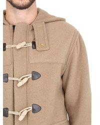 Palm Angels Blue Hooded Wool Blend Duffle Coat for men