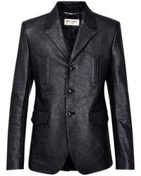 メンズ Saint Laurent スリムレザージャケット Black