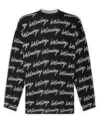 メンズ Balenciaga オーバーサイズジャカードニットセーター Black