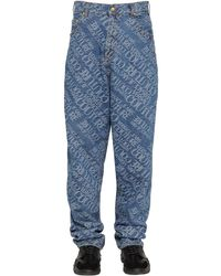 メンズ Versace Jeans ジャカードオーバーサイズロゴデニムジーンズ Blue