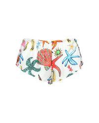"Versace Multicolor Shorts Aus Seidentwill ""tresor De La Mer"""