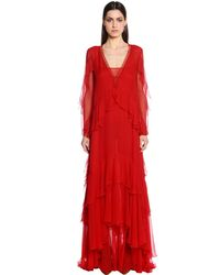 Alberta Ferretti Red Ruffled Silk Chiffon Gown W/ Lace Trim