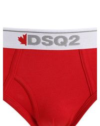 DSquared² Red Pack Of 2 Cotton Jersey Briefs for men