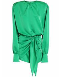 The Attico Green Satin-minikleid Mit Knoten Vorne