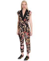 I'm Isola Marras - Black Floral Printed Light Crepe Jumpsuit - Lyst