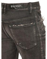 Balmain - Black Biker Destroyed Denim Jeans for Men - Lyst