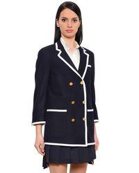 Thom Browne Blue Contrasting Trim Felted Wool Long Jacket