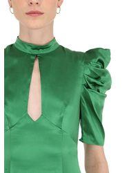 De La Vali Green Kleid Aus Seidensatin