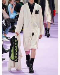 Raf Simons Labormantel Aus Baumwolle Mit Logopatch in White für Herren
