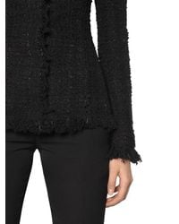 Alexander McQueen - Black Lurex & Wool Blend Tweed Jacket - Lyst