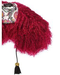 Etro Red Mongolian Goat Fur Scarf Collar