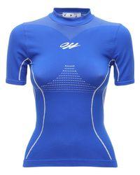 "Off-White c/o Virgil Abloh Blue Reflektierendes T-shirt ""athleisure"""
