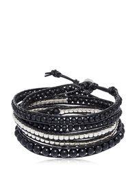 Colana - Black Onyx & Gun Metal Beads Wrap Bracelet - Lyst