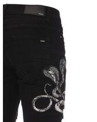 Jean En Denim De Coton Avec Patchs Imprimés Amiri pour homme en coloris Black