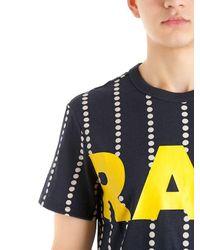 G-Star RAW Blue Wabash Stripe Print Cotton T-shirt for men