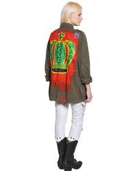 Faith Connexion Green Hand Painted Cotton Field Jacket