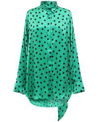 Balenciaga Green Hemd Aus Satinjacquard