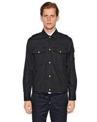 Moncler Blue Cotton Muslin Shirt Jacket for men