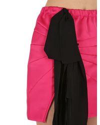 N°21 Pink Techno Duchesse Mini Skirt W/ Bow