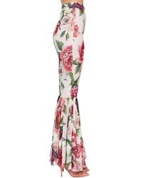 Dolce & Gabbana Multicolor Peony-print Silk Pants