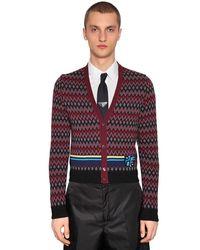Prada Red Wool & Cashmere Jacquard Cardigan for men