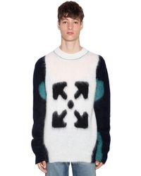 メンズ Off-White c/o Virgil Abloh トリコロールウールインターシャセーター Multicolor
