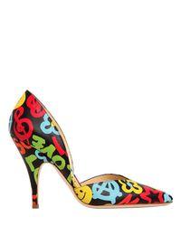 Moschino Multicolor 100mm Graffiti Print Leather Pumps