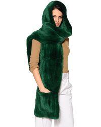 Écharpe À Capuche Fourrure De Lapin Rex Et Poches Yves Salomon en coloris Green