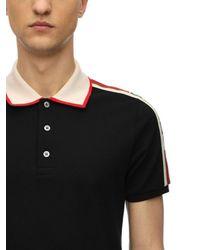 Gucci Polohemd Aus Stretch-baumwollpiqué Mit Logo in Black für Herren