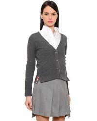 Thom Browne Gray Intarsia Stripes Cashmere Knit Cardigan