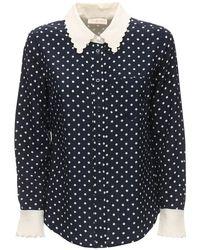 Рубашка Из Шёлкового Крепдешина В Горошек Tory Burch, цвет: Blue