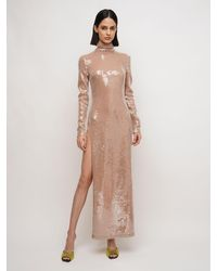 The Attico Natural Sequined Long Dress W/side Slit